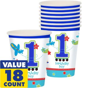 All Aboard 1st Birthday Cups 18ct