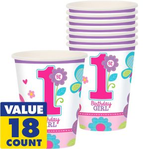 Sweet Girl 1st Birthday Cups 18ct
