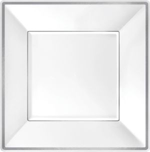 White Silver Trimmed Premium Square Dinner Plates 8ct