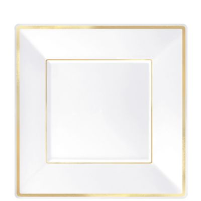 White Gold Trimmed Premium Square Dessert Plates 8ct