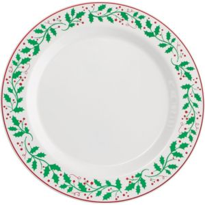 Christmas Holly Premium Plastic Dinner Plates 10ct
