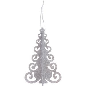 3D Silver Glitter Christmas Tree