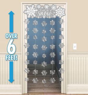 Glitter Snowflake Doorway Curtain