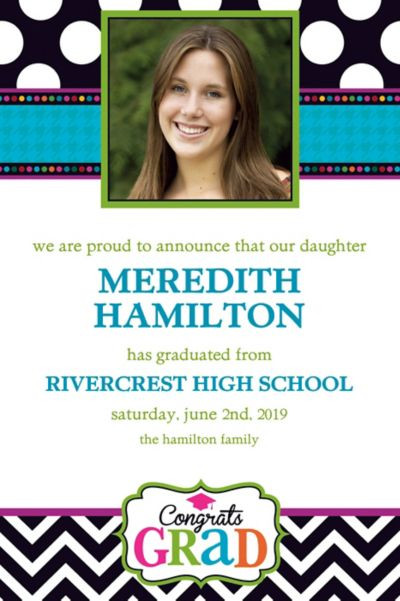 Bright Congrats Grad Custom Photo Announcement