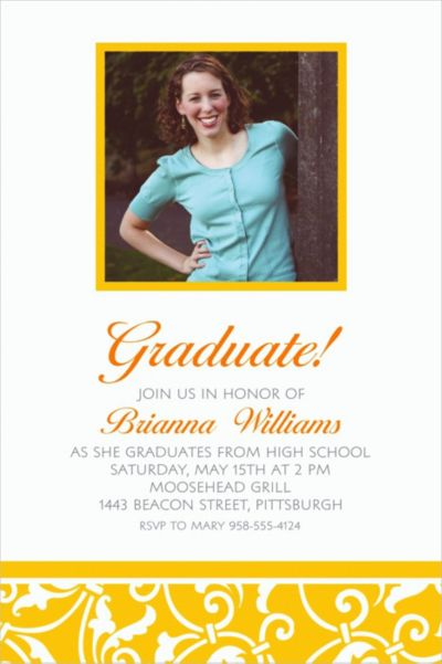 Custom Sunshine Yellow Ornamental Scroll Photo Invitations