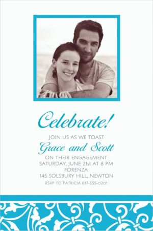 Custom Caribbean Blue Ornamental Scroll Photo Invitations