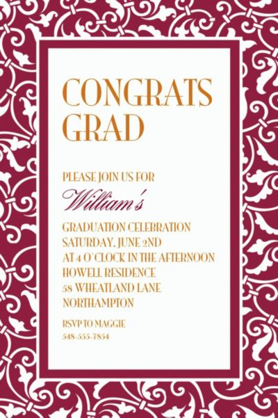 Custom Berry Ornamental Scroll Invitations