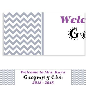 Custom Silver Chevron Banner 6ft