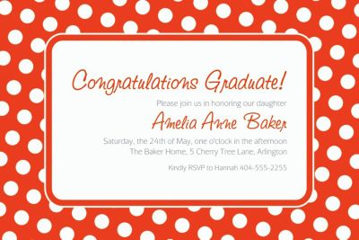 Custom Orange Polka Dot Invitations