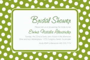 Custom Kiwi Polka Dot Invitations