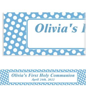 Custom Pastel Blue Polka Dot Banner 6ft