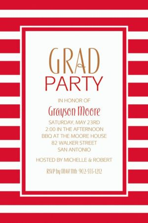 Custom Red Stripe Invitations