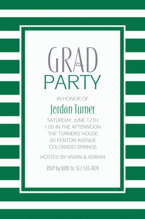 Custom Festive Green Stripe Invitations