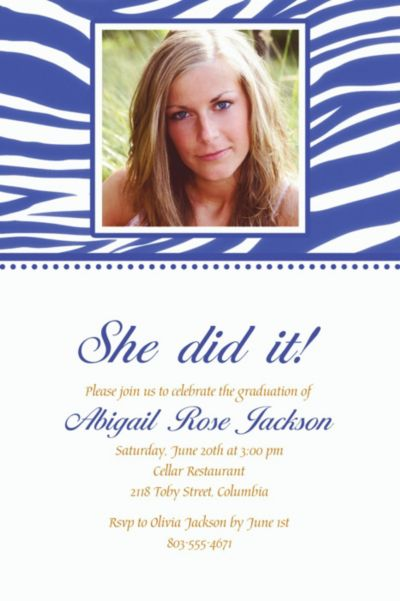 Royal Blue Zebra Custom Photo Invitation