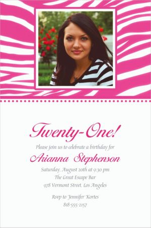 Custom Bright Pink Zebra Photo Invitations