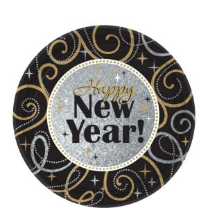 Sparkling New Year's Dessert Plates 8ct