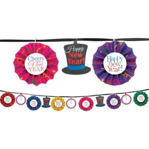 Jewel Tone Happy New Year Paper Fan Garland