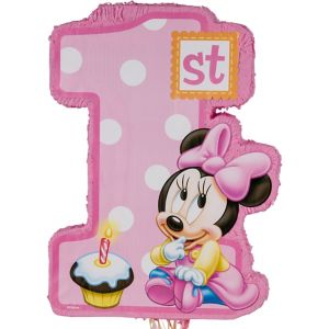 Pull String 1st Birthday Minnie Mouse Pinata