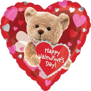 Valentine's Day Balloon - Teddy Bear Heart