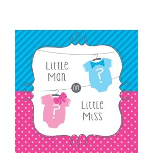 Little Man, Little Miss Gender Reveal Lunch Napkins 16ct