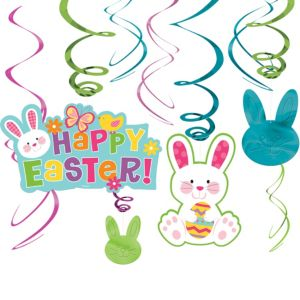 Easter Bunny Swirl Decorations 12ct
