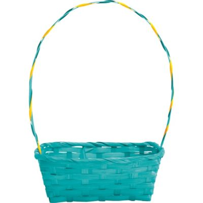 Round Blue Bamboo Easter Egg Basket