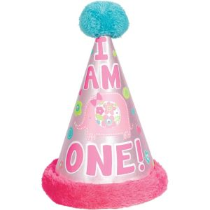 Wild at One Girl's 1st Birthday Deluxe Party Hat