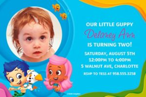 Custom Bubble Guppies Photo Invitations