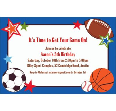 Play Ball Party Custom Invitation