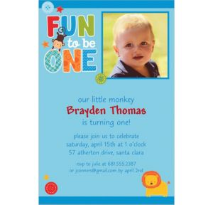 Custom One Wild Boy Photo Invitations