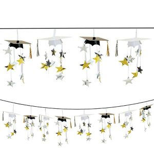 Black & Gold 3D Grad Cap Graduation Garland