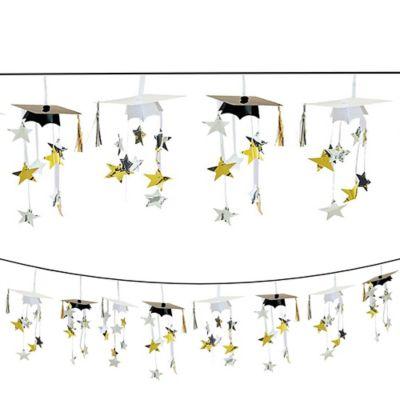Black & Gold 3D Grad Cap Graduation Garland