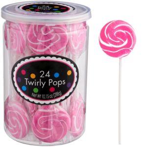 Bright Pink Swirly Lollipops 24pc