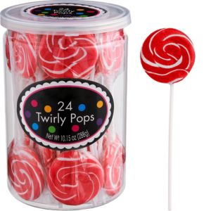 Red Swirly Lollipops 24pc