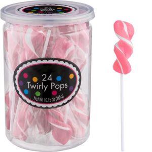 Pink Twirly Lollipops 24pc