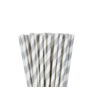 Silver Striped Paper Straws 24ct