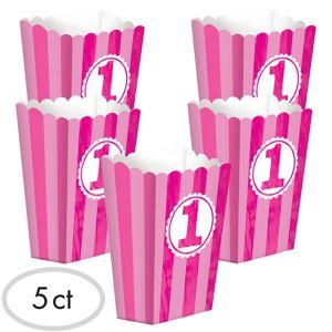 Pink Striped 1st Birthday Popcorn Boxes 5ct