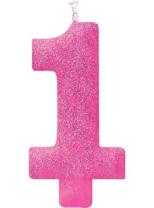 Giant Glitter Pink Number 1 Birthday Candle