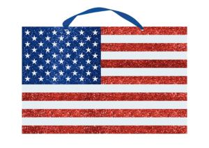 Large Glitter American Flag Sign