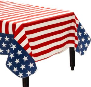 Patriotic American Flag Flannel-Backed Vinyl Tablecloth