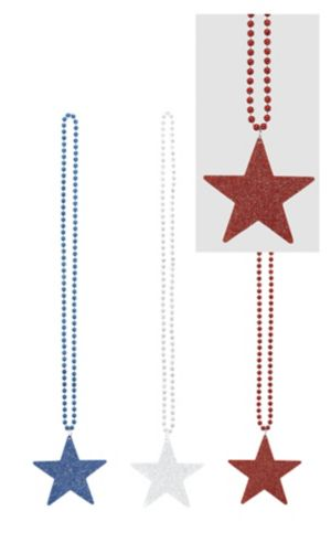 Patriotic Star Pendant Bead Necklaces 3ct