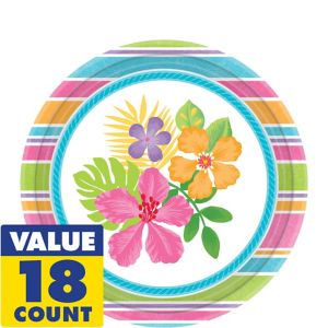 Colorful Hibiscus Dessert Plates 18ct