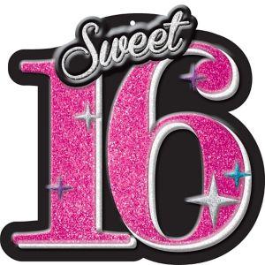 Glitter Celebrate Sweet 16 Sign