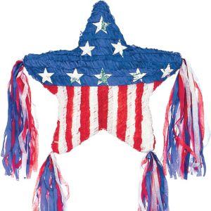 Patriotic American Flag Tassel Star Pinata
