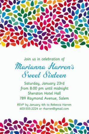 Custom Rainbow Droplets Invitations