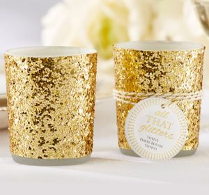 Gold Glitter Tealight Candle Holders