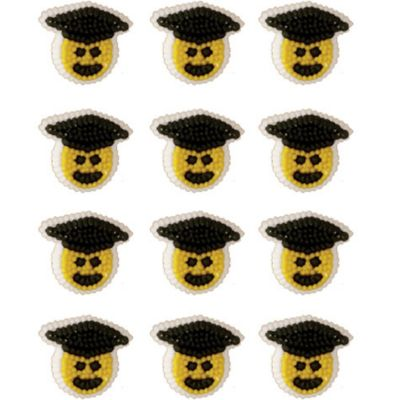 Graduation Smiley Face Icing Decorations 12ct