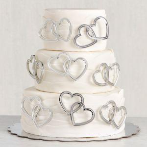 Double Heart Wedding Cake Picks 12ct