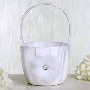 White Daisy Flower Girl Basket