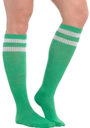 Green Stripe Athletic Knee-High Socks
